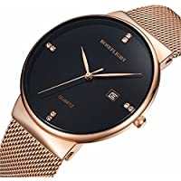 Men's Fashion Date Slim Analog Quartz Watches Black Dial with Stainless Steel Gold Mesh Band (gold)