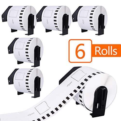 6 Rolls Compatible Brother DK-2205 Continuous Paper Tape Labels Roll, Cut-to-Length Label, 2.4