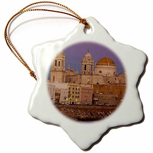 3dRose orn_139491_1 Spain, Cadiz, Cathedral, Dusk-Eu27 Wbi0879-Walter Bibikow-Snowflake Ornament, 3-Inch, Porcelain by 3dRose