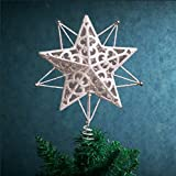 Valery Madelyn Pre-Lit 10.6 Inch Winter Wishes Silver and White Christmas Tree Topper, Metal Tree Top Star with 10 Blue LED Lights, Battery Operated, Themed with Christmas Ornaments (Not Included)