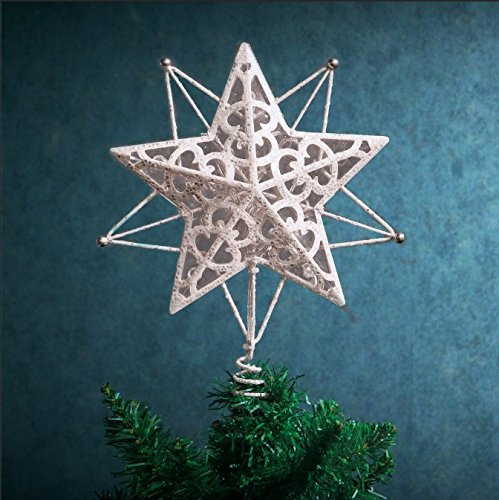 Blue Christmas Topper (Valery Madelyn Pre-Lit 10.6 Inch Winter Wishes Silver and White Christmas Tree Topper, Metal Tree Top Star with 10 Blue LED Lights, Battery Operated, Themed with Christmas Ornaments (Not Included))