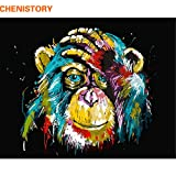 DIY oil painting kit, paint by numbers kit for kids and adults - Monkey 16x20 inches (Without frame)