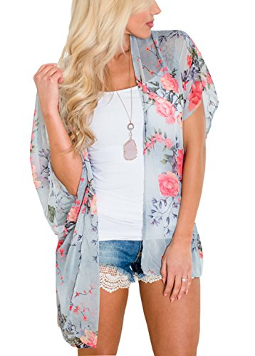 Floral Find Womens Sheer Floral Printing Tie Kimono Summer Casual Cover Up Short Sleeve Cardigan