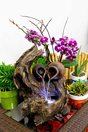 Alpine WIN634 Two Jars on Tree Branch Tabletop Fountain with LED Light, 14 Inch Tall by Alpine