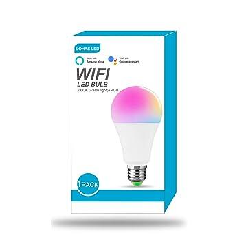 WiFi Bombilla inteligente, LOHAS 14W=100W Cambio de color Luz de estado de ánimo