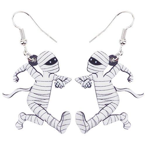 NEWEI Acrylic Drop Dangle Halloween Running Mummy Zombie Earrings Fashion Jewelry For Girl Women Gift -