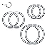 BodyJ4You 6PC Segment Ring Seamless Nose Lip Cartilage Hoop 16G Stainless Steel Hinged Clicker