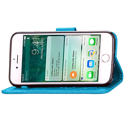 Voguecase® Pour Apple iPhone 7 Plus Coque, Étui en cuir synthétique chic avec fonction support pratique pour Apple iPhone 7 Plus (Trèfle à quatre feuilles-Bleu)de Gratuit stylet l'écran aléatoire univ