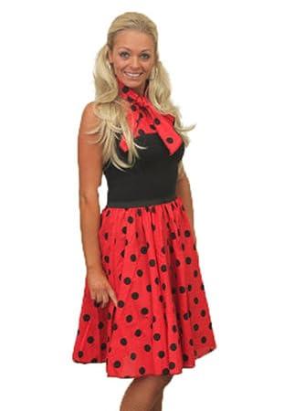 "b525223659fa 22"" Red Rock N Roll Black Polka Dot Skirt & Scarf Set 1950s 1960s  Womens"