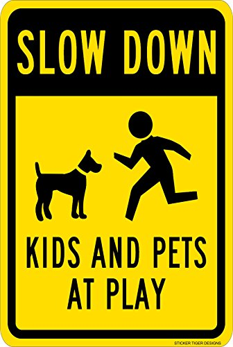 Metal Sign - Slow Down - Kids and Pets at Play with Graphic, 8