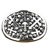 LINSION Cowboys Jewerly Skull Cross Oval Belt Buckle 925 Sterling Silver 9C005