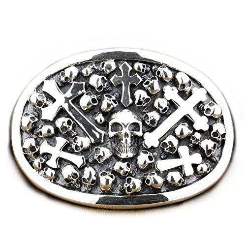 LINSION Cowboys Jewerly Skull Cross Oval Belt Buckle 925 Sterling Silver 9C005 by LINSION