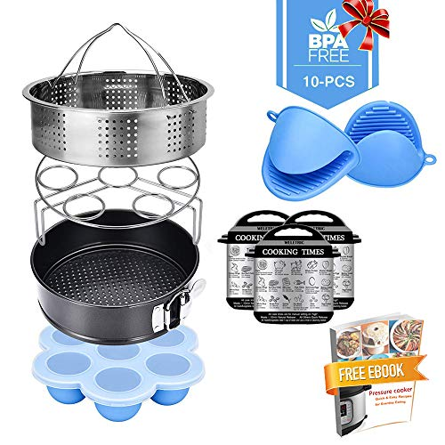 Weletric 10 Pcs Pressure Cooker Accessories Set Compatible with Instant Pot with Steamer Basket/Egg Steamer Rack/Egg Bites Molds/Non-stick Springform Pan/Silicone Cooking Mitts/Recipes Ebook