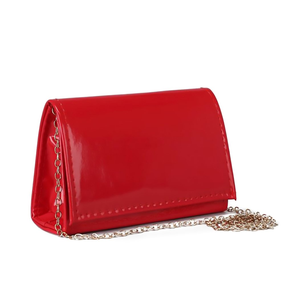 Ladies Classic Elegant Red Vegan Faux Leather Bag Purse with Chain Strap Clutch (Red)