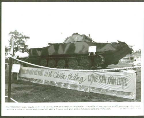 Soviet Amphibious Tank captured in Cambodia 8x10 1970
