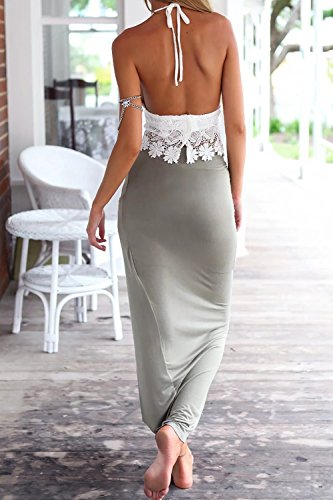 jasit Skirt Set, Women Summer Two Pieces V Neck Backless Lace Tops+Irregular Long Skirt S by jasit (Image #2)