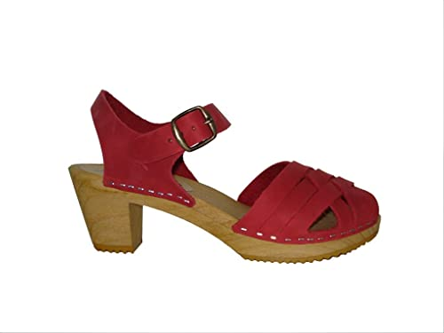 e5b362e1799a3c Moheda Lotta From Stockholm Swedish Clogs Betty High Heel Clog in Red Nubuck  Leather UK 3.5