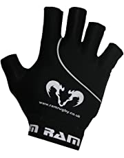 Ram Grip Mitts Rugby - Cotton Lycra Rugby Gloves With Rubber Palm For Enhanced Grip - Fingerless - Black - 6