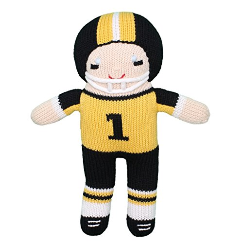 (Zubels Baby Boys' Hand-Knit Football Player Plush Toy, All-Natural Fibers, Eco-Friendly, 12-Inch, Gold & Black)