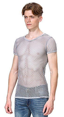 Tank Grey Tank Jersey Ribbed Top - Angel Cola Men's Mesh Fishnet Muscle Short Sleeve Shirt 1 Pack Grey Small