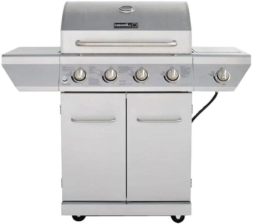 Nexgrill 4-Burner Propane Gas Grill in Stainless Steel with Side Burner