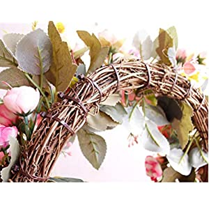YJBear Pink Artificial Flower Spring Door Wreath Garland Handcrafted Rose Silk Flower Twig Front Door Wreath Display for Home Decoration Wedding Farmhouse Decor Vintage Christmas Wreath,15.7-Inch 3
