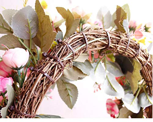 YJBear-Pink-Artificial-Flower-Spring-Door-Wreath-Garland-Handcrafted-Rose-Silk-Flower-Twig-Front-Door-Wreath-Display-for-Home-Decoration-Wedding-Farmhouse-Decor-Vintage-Christmas-Wreath157-Inch