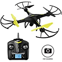 "Force1 Drones with Camera - ""U45 Raven"" 720p HD Camera Drone with 4GB SD Card and Card Reader RC Drone Camera Kit with Drone Quadcopter LED Toys Lights"