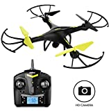Force1 U45 RC Quadcopter Drone with HD Camera, Altitude Hold, 4GB SanDisk Micro SD Card, One Key Take Off and Landing and Extra Battery, Black Yellow