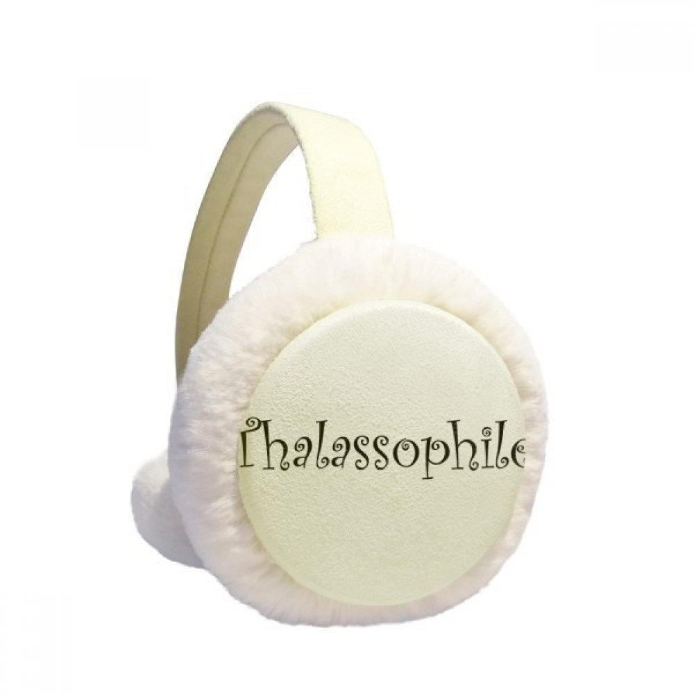 Stylish Word Thalassophile Winter Earmuffs Ear Warmers Faux Fur Foldable Plush Outdoor Gift