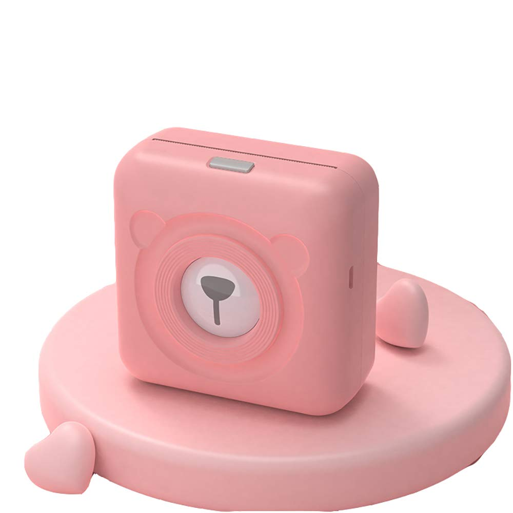 H&T Mini Portable Bluetooth Thermal Receipt Printer, 58Mm Mini Portable Label Printer with Rechargeable Battery High Speed Ticket Printing,Pink