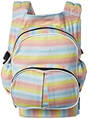 The Twingaroo twin carrier is the first and only baby carrier of its kind. It's a twin carrier and diaper bag- all in one. The back of the Twingaroo twin baby carrier is conveniently equipped with a compact diaper bag.
