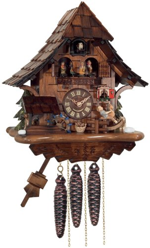 River City Clocks One Day Musical Cuckoo Clock Cottage with Boy on Rocking Horse, Moving Waterwheel and Dancers (Rocking Horse Cottage)