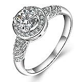 F-U Platinum Tone Diamond Engagement Rings Jewelry Rings,Sise 9