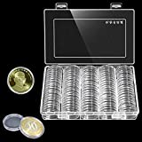 100pcs 30mm Round Coin Case Collecting Storage Box Coin Collection Holder Coin Collectible Display Organizer Container for Collectors