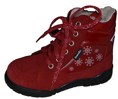 Däumling Mädchen Schuhe, Mädchen Stiefel, Winterstiefel, Warmfutter, Lederstiefel rot (Turino cardinale)