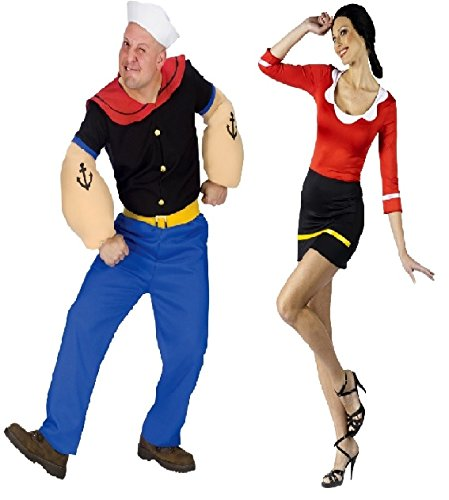 Wonder Costumes Popeye The Sailorman Popeye and Olive Oyl Couples Costumes (Small/Medium (2-8)) by Wonder Costumes