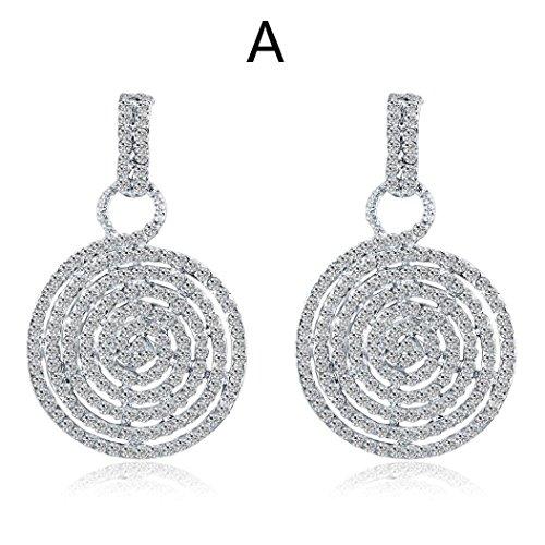 - Botrong Fashion Zircon Earrings Diamond-encrusted Love Heart Earring for Women Girls (A)