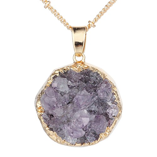 Bonnie Amethyst Irregular Raw Gemstone Quartz Crystal Stone Pendant Necklace 24
