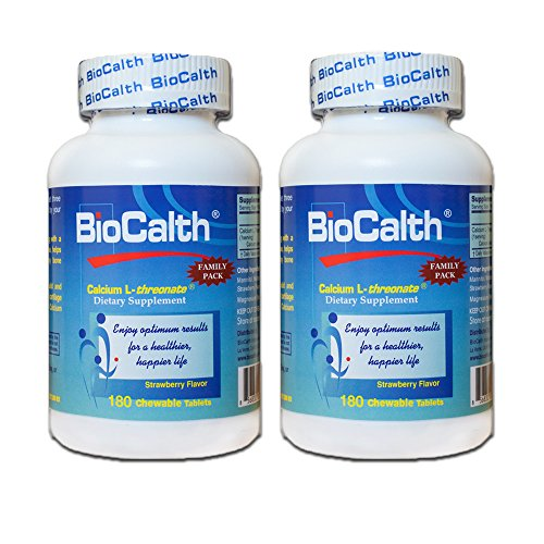 BioCalth® Chewable L-threonate Calcium Tablets, Strawberry Flavor, Patented Calcium Supplement (360 Tablets) by BioCalth® International, Inc.