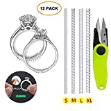Ring Size Adjuster 12 Pack with Scissors, Invisible Ring Size Adjuster for Loose Rings, Ring Guard Spiral Silicone Tightener Set - 4 Sizes Fit Almost ANY Ring