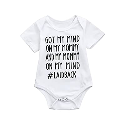 Efaster Baby Clothes,Newborn Baby Short-Sleeved Letter Print Romper Jumpsuit