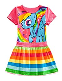 Lemonbaby My Little Pony Dress Colorful Striped Cartoon Girls Dress
