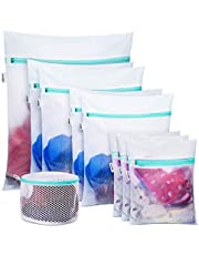Plusmart Large Mesh Lingerie Bag for Laundry, Bra Washing Bag for Washing Machine/Washer, F to G Cup, 3 Pack White (9 Pack laundry bag(A-E Cups))