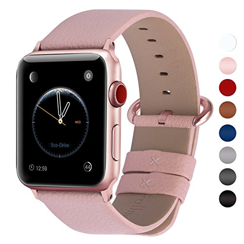 Fullmosa Apple Watch Band 42mm and 38mm, Genuine Leather iWatch Strap/Band for Apple Watch Series 3, Series 2, Series1 Nike+ Hermes&Edition, 42mm Soft Pink+Rose Gold (Pink Gold Watch)