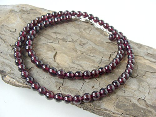 Strand Adjustable Clasp - Genuine garnet strand necklace, dark burgundy stones, adjustable length with sterling clasp, handmade for you by Let Loose Jewelry