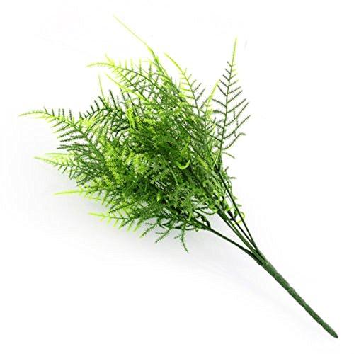 (AlexGT Plastic Green 7 Stems Artificial Asparagus Fern Bush Plants Light Green Leaf Foliage Green plant decoration for home store)