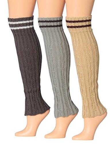 Knit Striped Leg Warmers - 2