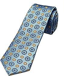 Zarrano Skinny Tie 100% Silk Woven Blue/Yellow Geometric Tie