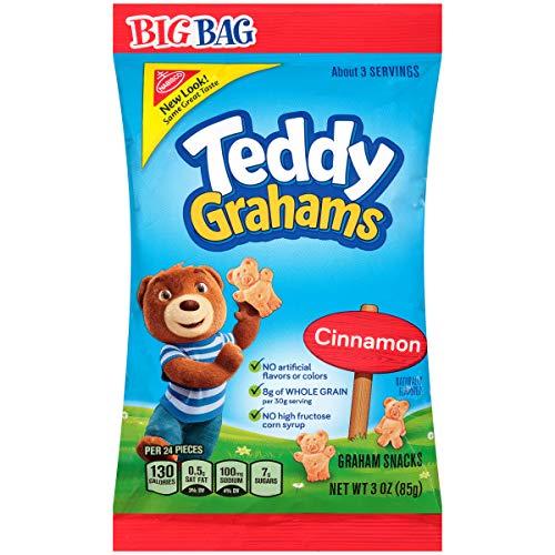 - Teddy Grahams Cinnamon Graham Snacks, Big Bag, 3 Ounce (Pack of 12)